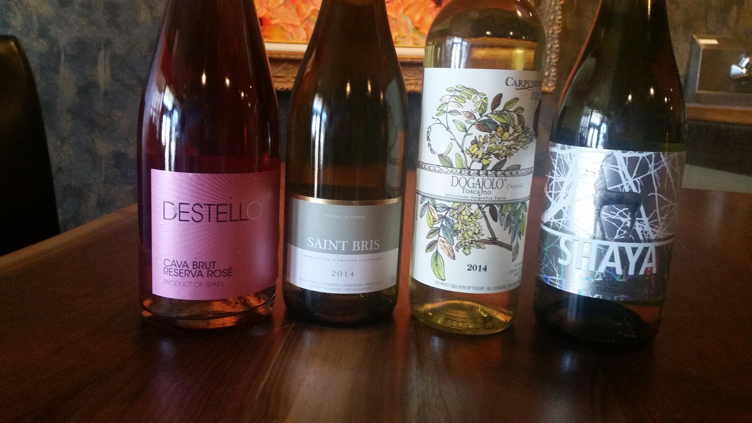 A Rose & 3 Whites from Hannah's pairing -- The La Chablisienne Saint Bris is second from left
